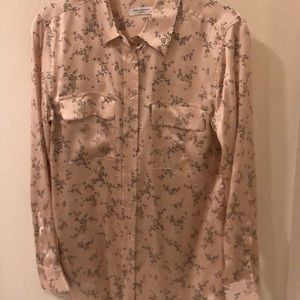 Equipment pink floral silk blouse size s/p